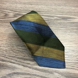 Paul Stuart Green, Gold & Blue Stripe Silk Tie